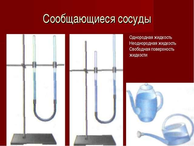 Сообщающиеся сосуды Однородная жидкость Неоднородная жидкость Свободная повер...