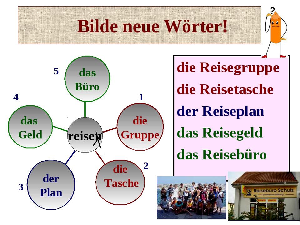 Bilde neue Wörter! die Reisegruppe die Reisetasche der Reiseplan das Reisegel...