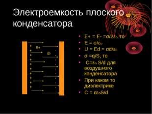 Электроемкость плоского конденсатора Е+ = Е- =σ/2εо, то Е = σ/εо U = Ed = σd/