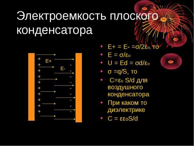 Электроемкость плоского конденсатора Е+ = Е- =σ/2εо, то Е = σ/εо U = Ed = σd/...