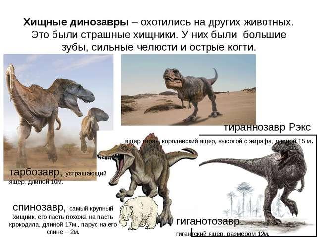 гиганотозавр гигантский ящер, размером 12м. спинозавр, самый крупный хищник,...
