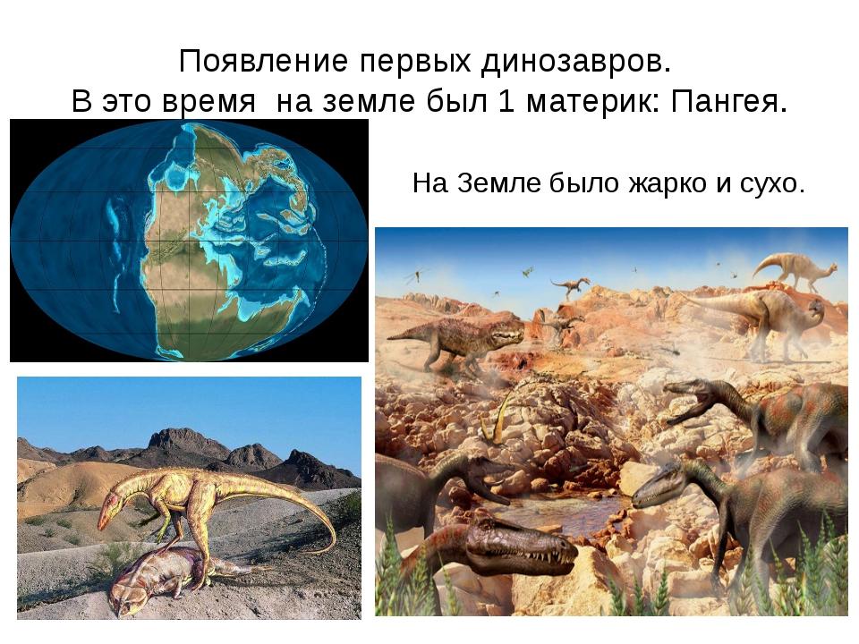 Появление первых динозавров. В это время на земле был 1 материк: Пангея. На З...