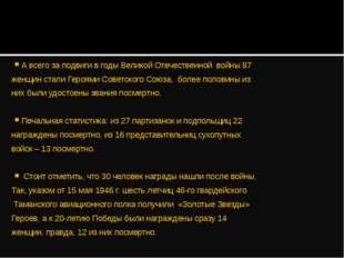 А всего за подвиги в годы Великой Отечественной войны 87 женщин стали Героями