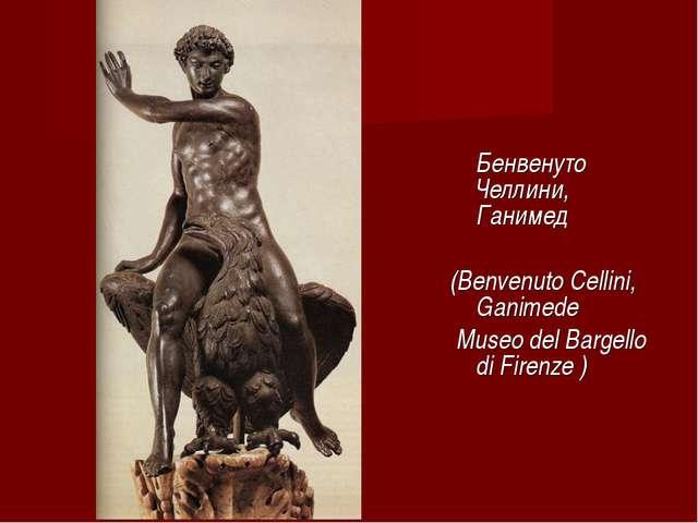 Бенвенуто Челлини, Ганимед (Benvenuto Cellini, Ganimede Museo del Bargello...