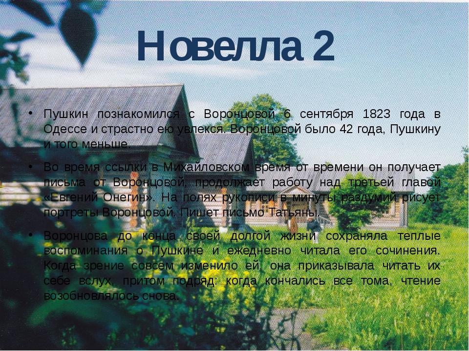 Новелла 2 Пушкин познакомился с Воронцовой 6 сентября 1823 года в Одессе и ст...