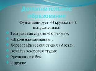 Дополнительное образование Функционирует 33 кружка по 8 направлениям: Театрал