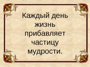 Каждый день жизнь прибавляет частицу мудрости.