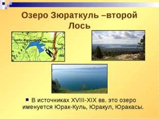 Озеро Зюраткуль –второй Лось В источниках XVIII-XIX вв. это озеро именуется Ю