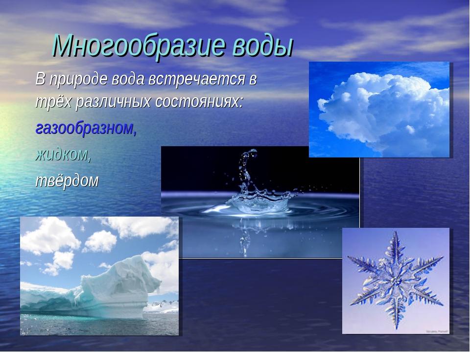 Многообразие воды В природе вода встречается в трёх различных состояниях: г...