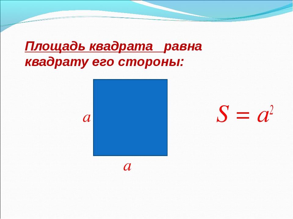 a S = а2 a Площадь квадрата равна квадрату его стороны: