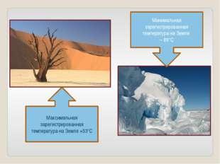 Максимальная зарегистрированная температура на Земле +53°С Минимальная зареги