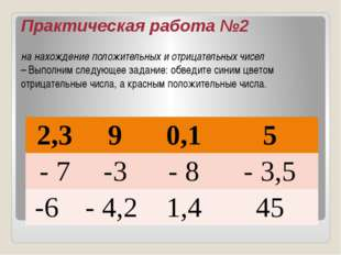 Практическая работа №2 на нахождение положительных и отрицательных чисел – Вы