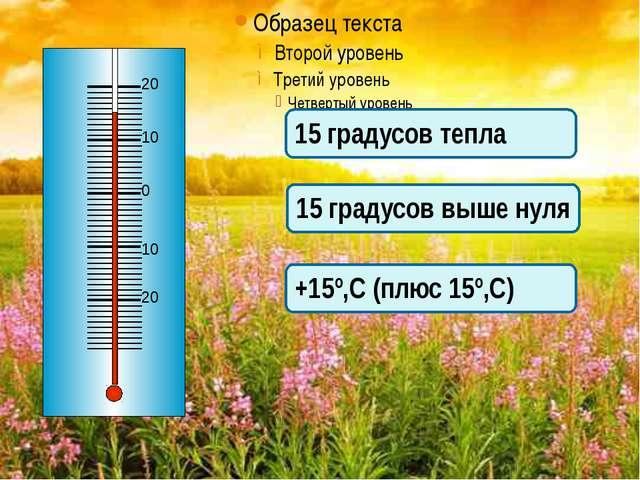 15 градусов тепла 15 градусов выше нуля +15º,С (плюс 15º,С) 0 10 20 20 10