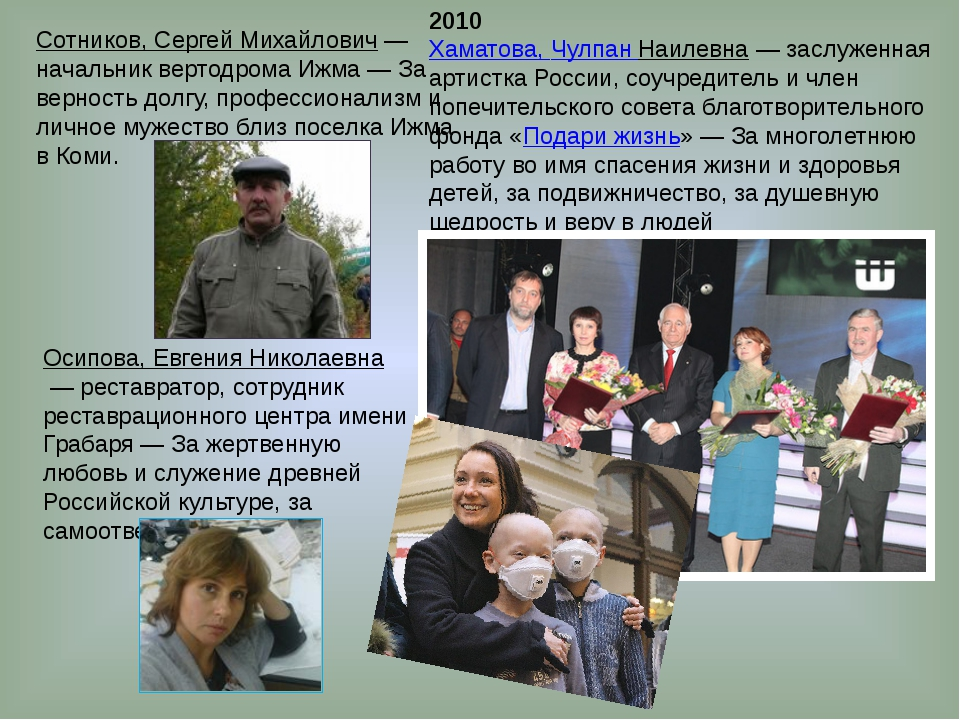 2010 Хаматова, Чулпан Наилевна— заслуженная артистка России, соучредитель и...