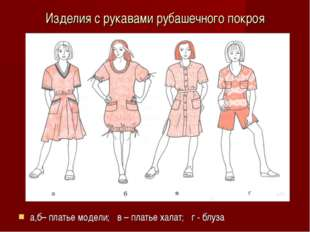 Изделия с рукавами рубашечного покроя а,б– платье модели; в – платье халат; г