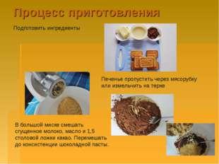 Процесс приготовления Подготовить ингредиенты Печенье пропустить через мясору