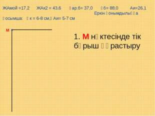 М ЖАмой =17,2 ЖАк2 = 43,6 Ұар.б= 37,0 Ұб= 88,0 Аи=26,1 Еркін қонымдылыққа қос