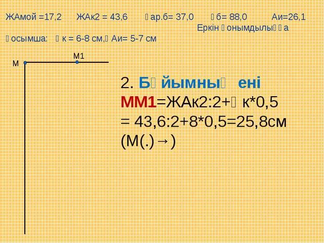 М1 М 2. Бұйымның ені ММ1=ЖАк2:2+Қк*0,5= 43,6:2+8*0,5=25,8см (М(.)→) ЖАмой =17...