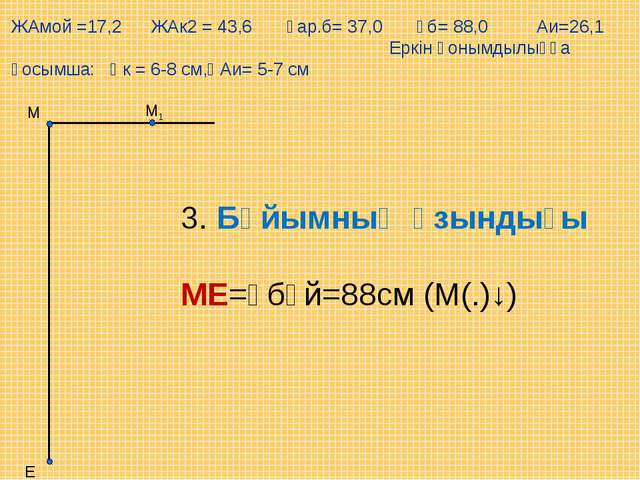М1 Е М 3. Бұйымның ұзындығы  МЕ=Ұбұй=88см (М(.)↓) ЖАмой =17,2 ЖАк2 = 43,6 Ұа...