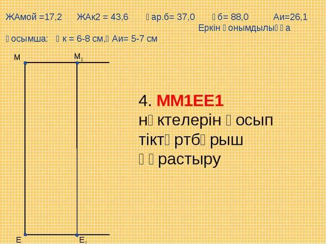 Е М1 М Е1 ЖАмой =17,2 ЖАк2 = 43,6 Ұар.б= 37,0 Ұб= 88,0 Аи=26,1 Еркін қонымдыл...