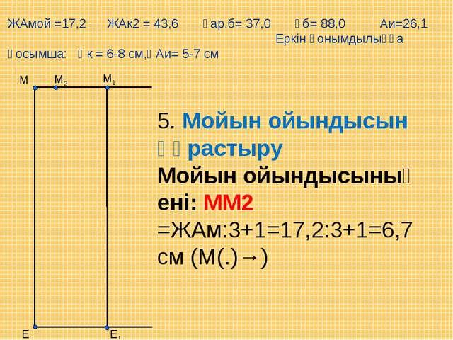 М2 Е М1 М Е1 ЖАмой =17,2 ЖАк2 = 43,6 Ұар.б= 37,0 Ұб= 88,0 Аи=26,1 Еркін қоным...