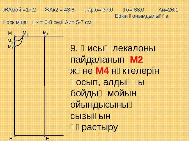Е М1 М Е1 М2 М3 М4 9. Қисық лекалоны пайдаланып М2 және М4 нүктелерін қосып,...