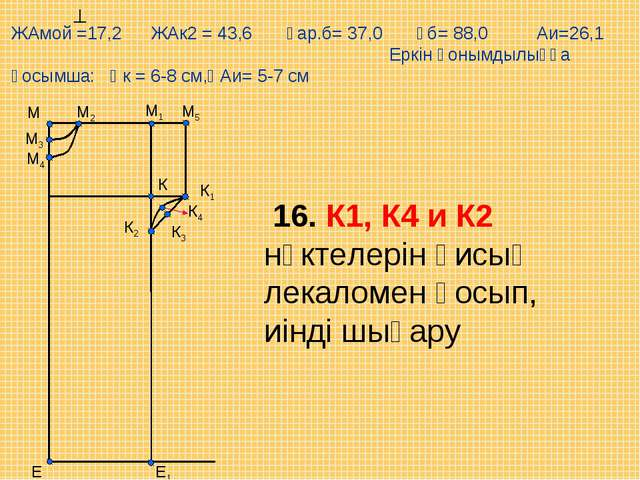 М5 Е М1 М Е1 М2 М3 М4 К К1 К2 К3 К4 16. К1, К4 и К2 нүктелерін қисық лекаломе...