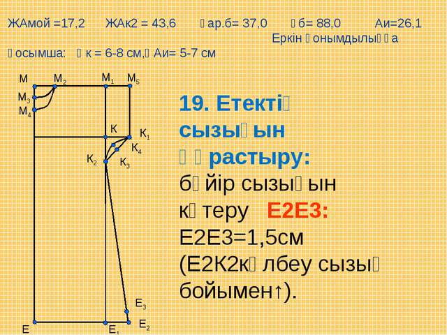 М5 Е М1 М Е1 М2 М3 М4 К К1 К2 К3 К4 Е2 Е3 19. Етектің сызығын құрастыру: бүйі...