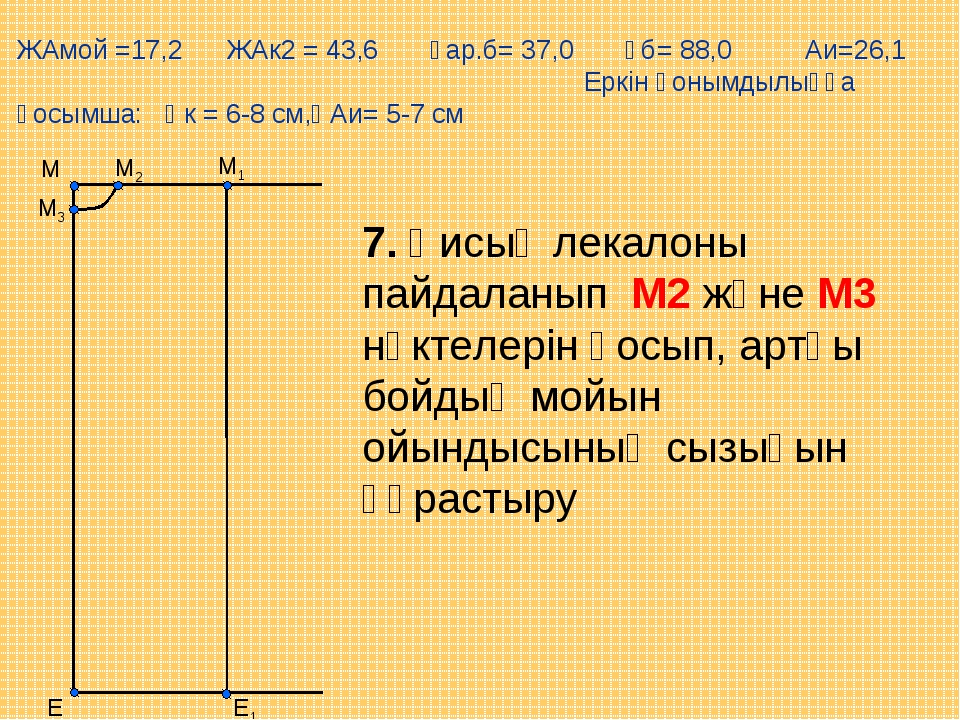 Е М1 М Е1 М2 М3 7. Қисық лекалоны пайдаланып М2 және М3 нүктелерін қосып, арт...