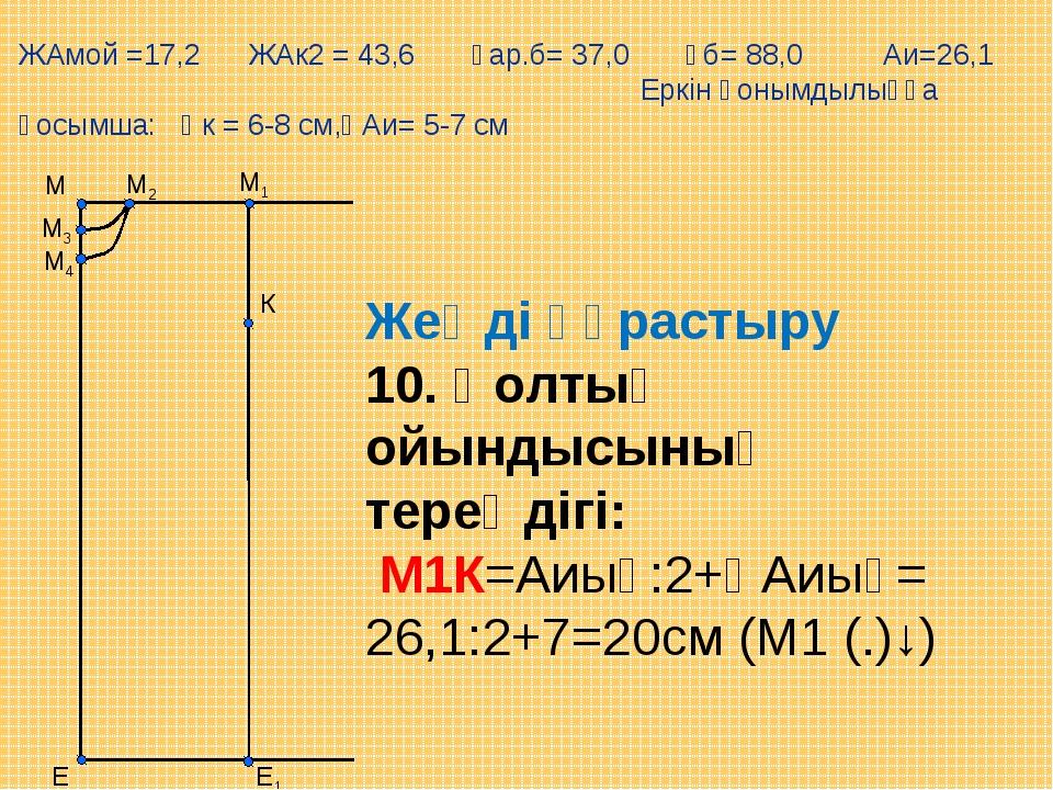 К Е М1 М Е1 М2 М3 М4 Жеңді құрастыру 10. Қолтық ойындысының тереңдігі: М1К=А...