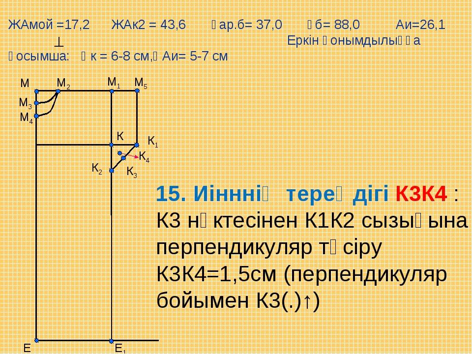 М5 Е М1 М Е1 М2 М3 М4 К К1 К2 К3 К4 15. Иінннің тереңдігі К3К4 : К3 нүктесіне...