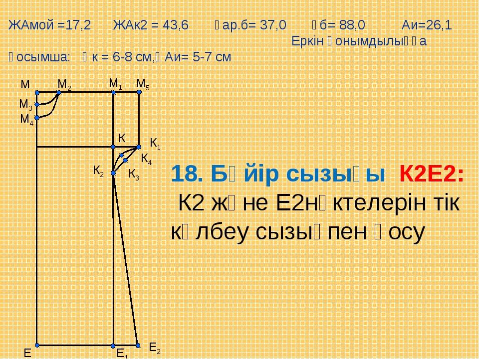 М5 Е М1 М Е1 М2 М3 М4 К К1 К2 К3 К4 Е2 18. Бүйір сызығы К2Е2: К2 және Е2нүкте...