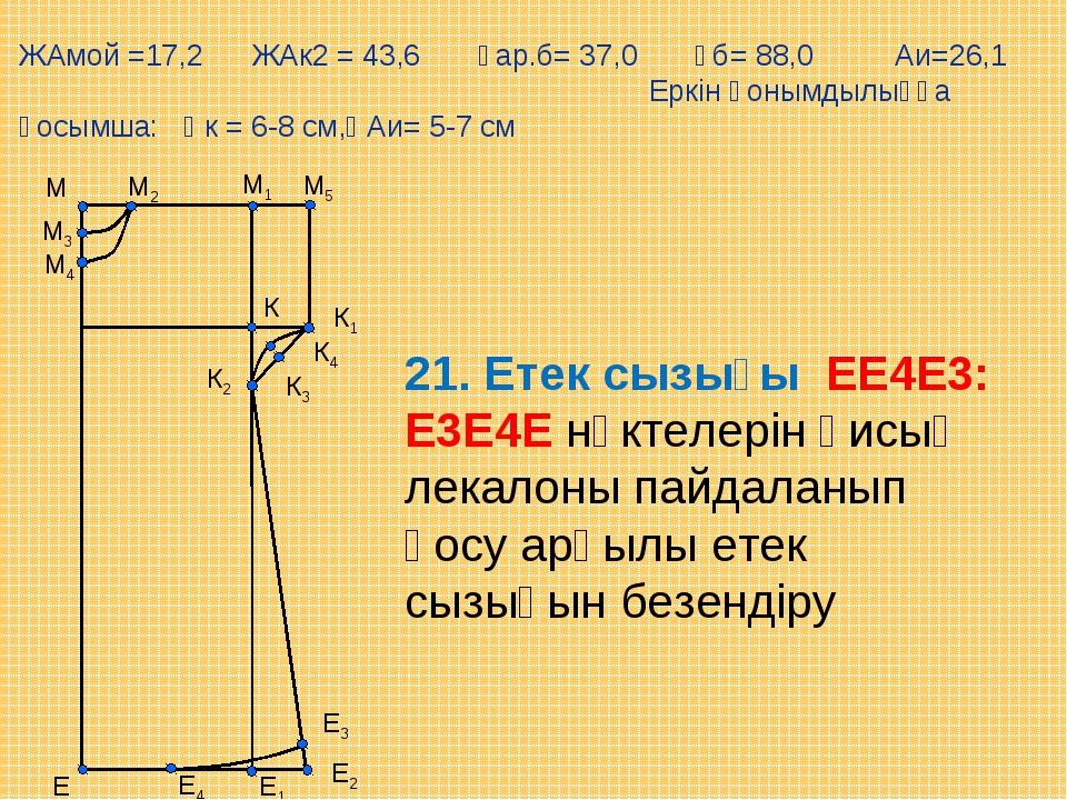 М5 Е М1 М Е1 М2 М3 М4 К К1 К2 К3 К4 Е2 Е3 Е4 21. Етек сызығы ЕЕ4Е3: Е3Е4Е нүк...