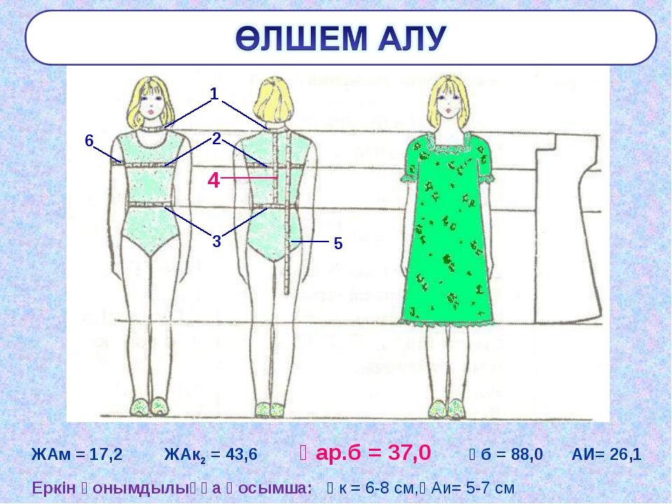 ЖАм = 17,2 ЖАк2 = 43,6 Ұар.б = 37,0 Ұб = 88,0 АИ= 26,1 Еркін қонымдылыққа қос...