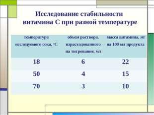 Исследование стабильности витамина С при разной температуре температура иссле