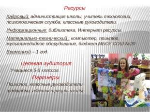 Ресурсы Кадровый: администрация школы, учитель технологии, психологическая сл