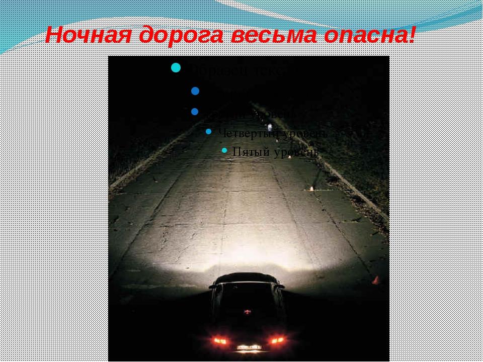 Ночная дорога весьма опасна!
