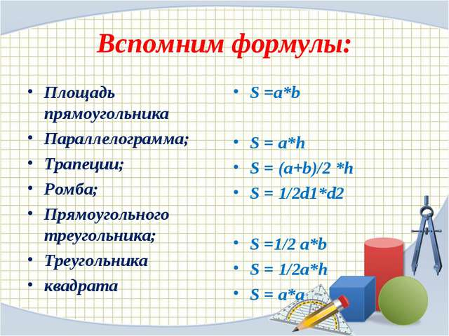 Вспомним формулы: Площадь прямоугольника Параллелограмма; Трапеции; Ромба; Пр...