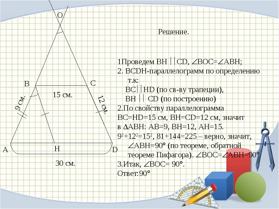 А D В С Н О 30 см. 15 см. 12 см. 9 см. Решение. 1Проведем BH CD, BOC=ABH;...
