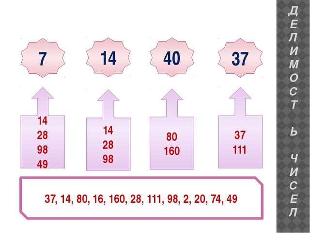7 14 40 37 37, 14, 80, 16, 160, 28, 111, 98, 2, 20, 74, 49 14 28 98 49 37 111...