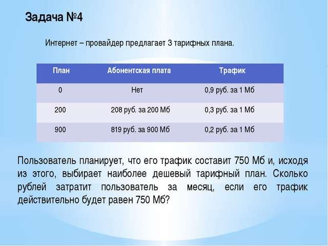 Задача №4 Интернет – провайдер предлагает 3 тарифных плана. Пользователь план...