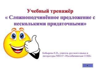 Бобырева Е.П., учитель русского языка и литературы МКОУ «Малобичинская СОШ»