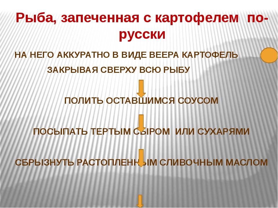 Рыба, запеченная с картофелем по-русски НА НЕГО АККУРАТНО В ВИДЕ ВЕЕРА КАРТОФ...