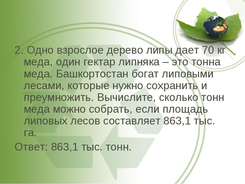 2. Одно взрослое дерево липы дает 70 кг меда, один гектар липняка – это тонна...