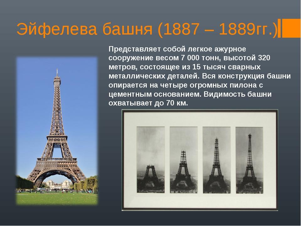 Эйфелева башня (1887 – 1889гг.) Представляет собой легкое ажурное сооружение...