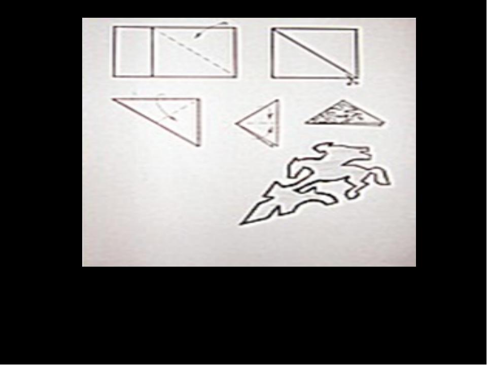 Қағаздың бүктелу жолдары және қолданылатын сурет, шаблон түрінде көрсетілген.