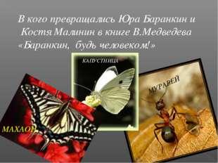 В кого превращались Юра Баранкин и Костя Малинин в книге В.Медведева «Баранки