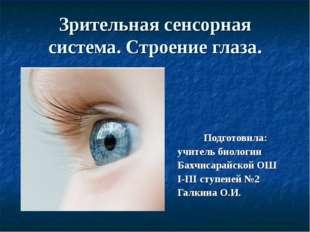Зрительная сенсорная система. Строение глаза. Подготовила: учитель биологии Б
