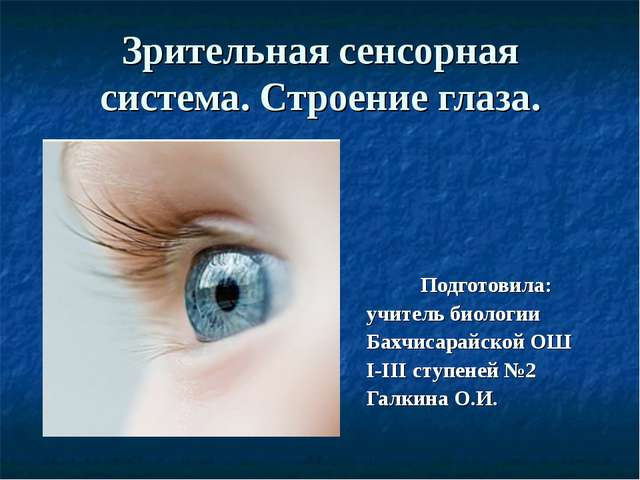 Зрительная сенсорная система. Строение глаза. Подготовила: учитель биологии Б...