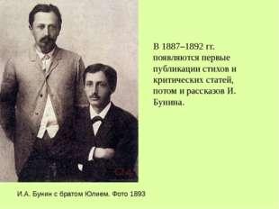 В 1887–1892 гг. появляются первые публикации стихов и критических статей, пот